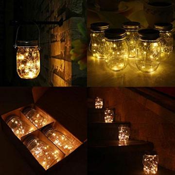 2x LED Solarglas - LED Solar Einwegglas aus Echtglas mit 20 LEDs warmweiß inkl. Akku - 2 Gläser im Set Gartenlampe Solarlampe Solar-Laterne (2x Solarglas) - 7