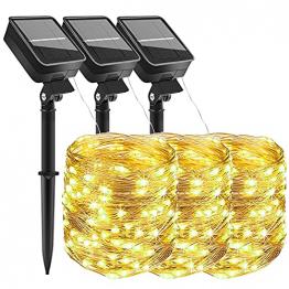 [3 Stücke] Solar Lichterkette Aussen, 10MX3 300 LED Outdoor Solar Lichterkette Außen Wetterfest 8 Modi Wasserdicht Solarlichterkette Größeren Lampenperlen für Balkon Garten Party Hochzeit Deko - 1
