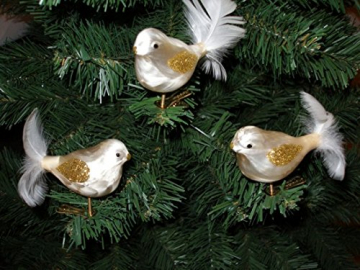 """3 tlg. Glas Vogel Set in """"Ice Champagner Gold"""" - Christbaumkugeln - Weihnachtsschmuck-Christbaumschmuck - 1"""