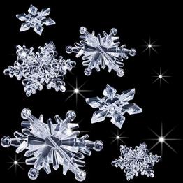 35 Stück Klare Acryl Kristall Schneeflocken Ornamente Weihnachtsbaum Anhänger DIY Weihnachten Dekoration (Klar) - 1