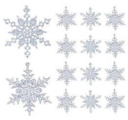 36 Stück Schneeflocken Weihnachten Deko Anhänger, Kunststoff Weihnachtsbaumschmuck Set Schneeflockendeko für Weihnachtsbaum Glitzer Christbaumschmuck Silber - 1