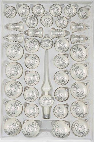 39 TLG. Glas-Weihnachtskugeln Set in Hochglanz-Weiss-Silberne-Ornamente - Christbaumkugeln - Weihnachtsschmuck-Christbaumschmuck - 1