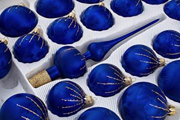 39 TLG. Glas-Weihnachtskugeln Set in 'Ice Royal Blau Gold' Regen - Christbaumkugeln - Weihnachtsschmuck-Christbaumschmuck - 2