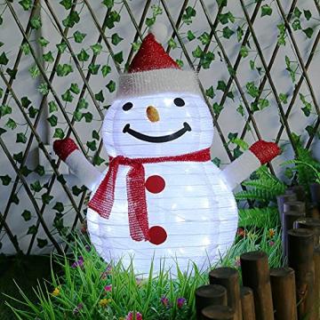 40 LED Weihnachtsmann Schneemann Laterne Stabil Weihnachten Außenlaterne IP65 Wasserdicht Weihnachtsbeleuchtung Outdoor für Außendekoration Weihnachtsgartens (Ohne Akku) - 4
