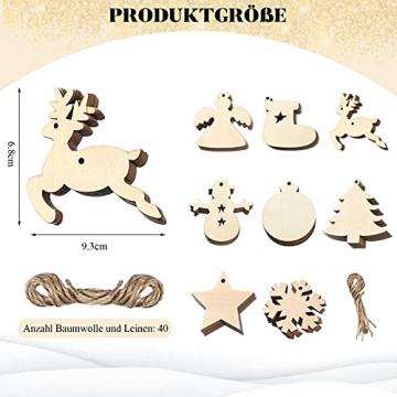 40 Stück Kleine Anhänger Holz Weihnachten, Weihnachtsbaum Anhänger DIY Weihnachtsdekoration Holz Weihnachten Deko Schneeflocke Stern Sock Schneemann Elch Weihnachtsbaum Engel für Weihnachtsbaum - 2