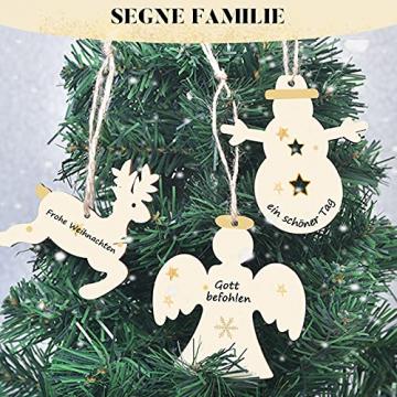 40 Stück Kleine Anhänger Holz Weihnachten, Weihnachtsbaum Anhänger DIY Weihnachtsdekoration Holz Weihnachten Deko Schneeflocke Stern Sock Schneemann Elch Weihnachtsbaum Engel für Weihnachtsbaum - 4