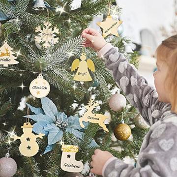 40 Stück Kleine Anhänger Holz Weihnachten, Weihnachtsbaum Anhänger DIY Weihnachtsdekoration Holz Weihnachten Deko Schneeflocke Stern Sock Schneemann Elch Weihnachtsbaum Engel für Weihnachtsbaum - 6