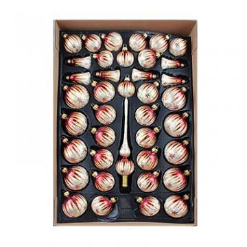 40er Christbaumschmuck, Weihnachtsbaumkugel Set Lauscha ,Eislack Champagner Bordeaux Gold, 38 Kugeln+Spitze, Handarbeit - 1