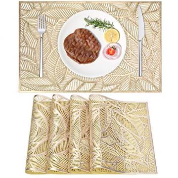 4er Set PVC Platzset, Abwaschbar Tischsets, rutschfeste Platzsets, Gold Tischsets, Platzdeckchen Gold für Weihnachten Party Küche Zuhause Speisetisch - 1