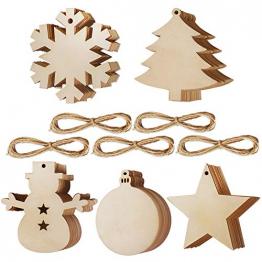 50 Stück Weihnachtsbaum Anhänger DIY Weihnachtsdekoration Holz Scheiben Holzsterne Holz Schneeflocke und Schneemann Runde Holzscheiben Holz Weihnachtsbaum Weihnachten Deko zum Bemalen und Verzieren - 1