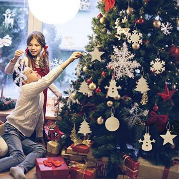 50 Stück Weihnachtsbaum Anhänger DIY Weihnachtsdekoration Holz Scheiben Holzsterne Holz Schneeflocke und Schneemann Runde Holzscheiben Holz Weihnachtsbaum Weihnachten Deko zum Bemalen und Verzieren - 5