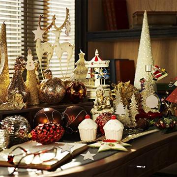 50 Stück Weihnachtsbaum Anhänger DIY Weihnachtsdekoration Holz Scheiben Holzsterne Holz Schneeflocke und Schneemann Runde Holzscheiben Holz Weihnachtsbaum Weihnachten Deko zum Bemalen und Verzieren - 6