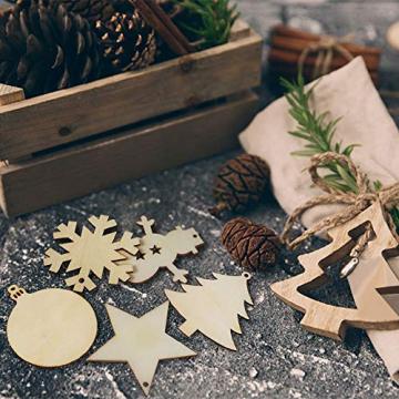 50 Stück Weihnachtsbaum Anhänger DIY Weihnachtsdekoration Holz Scheiben Holzsterne Holz Schneeflocke und Schneemann Runde Holzscheiben Holz Weihnachtsbaum Weihnachten Deko zum Bemalen und Verzieren - 7