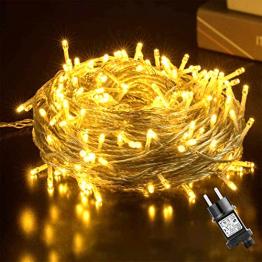 50M LED Lichterkette Außen, GlobaLink 250LEDs Lichterkette Warmweiß Strom mit 8 Modi IP44 Wasserdicht Weihnachtsbeleuchtung innen für Balkon, Garten, Geländer, Weihnachten, Innen, Außen Dekoration - 1