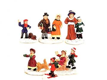 6 teiliges Set Weihnachtliche Miniatur-Figuren Winterwelt-Szenen aus Poly sortiert Höhe 3-4 cm - 1