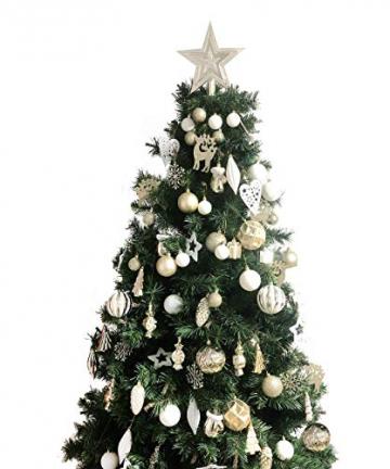 88PCS Weihnachtskugeln Ornamente für Weihnachtsbaum, zarte Weihnachtsdekoration Kugeln Bastelset Bruchsichere Kunststoff weihnachtsbaumschmuck Kugeln Kit für Neujahrsfeier Hochzeitsfeier (Gold+Weißen) - 4