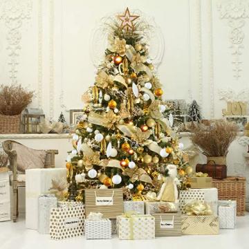 88PCS Weihnachtskugeln Ornamente für Weihnachtsbaum, zarte Weihnachtsdekoration Kugeln Bastelset Bruchsichere Kunststoff weihnachtsbaumschmuck Kugeln Kit für Neujahrsfeier Hochzeitsfeier (Gold+Weißen) - 6