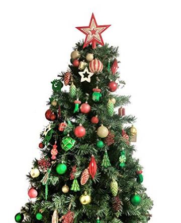 88PCS Weihnachtskugeln Ornamente für Weihnachtsbaum, zarte Weihnachtsdekoration Kugeln Bastelset Kunststoff weihnachtsbaumschmuck Kugeln Kit für Neujahrsfeier Hochzeitsfeier(Rot+Grün+Gold) - 4