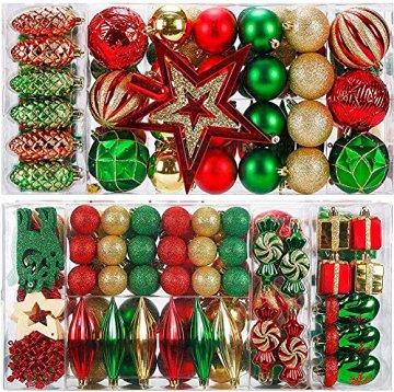 88PCS Weihnachtskugeln Ornamente für Weihnachtsbaum, zarte Weihnachtsdekoration Kugeln Bastelset Kunststoff weihnachtsbaumschmuck Kugeln Kit für Neujahrsfeier Hochzeitsfeier(Rot+Grün+Gold) - 1