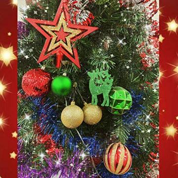 88PCS Weihnachtskugeln Ornamente für Weihnachtsbaum, zarte Weihnachtsdekoration Kugeln Bastelset Kunststoff weihnachtsbaumschmuck Kugeln Kit für Neujahrsfeier Hochzeitsfeier(Rot+Grün+Gold) - 5