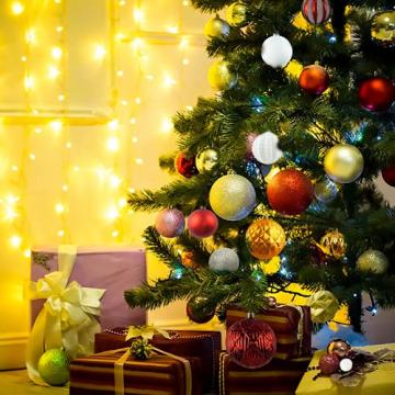 88PCS Weihnachtskugeln Ornamente für Weihnachtsbaum, zarte Weihnachtsdekoration Kugeln Bastelset Kunststoff weihnachtsbaumschmuck Kugeln Kit für Neujahrsfeier Hochzeitsfeier(Rot+Grün+Gold) - 6