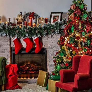 88PCS Weihnachtskugeln Ornamente für Weihnachtsbaum, zarte Weihnachtsdekoration Kugeln Bastelset Kunststoff weihnachtsbaumschmuck Kugeln Kit für Neujahrsfeier Hochzeitsfeier(Rot+Grün+Gold) - 7