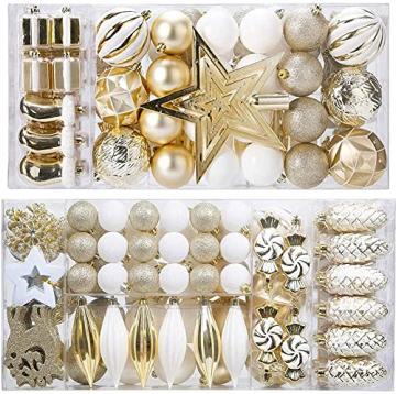 88PCS Weihnachtskugeln Ornamente für Weihnachtsbaum, zarte Weihnachtsdekoration Kugeln Bastelset Bruchsichere Kunststoff weihnachtsbaumschmuck Kugeln Kit für Neujahrsfeier Hochzeitsfeier (Gold+Weißen) - 1