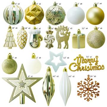 88PCS Weihnachtskugeln Ornamente für Weihnachtsbaum, zarte Weihnachtsdekoration Kugeln Bastelset Bruchsichere Kunststoff weihnachtsbaumschmuck Kugeln Kit für Neujahrsfeier Hochzeitsfeier (Gold+Weißen) - 2