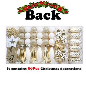 88PCS Weihnachtskugeln Ornamente für Weihnachtsbaum, zarte Weihnachtsdekoration Kugeln Bastelset Bruchsichere Kunststoff weihnachtsbaumschmuck Kugeln Kit für Neujahrsfeier Hochzeitsfeier (Gold+Weißen) - 3