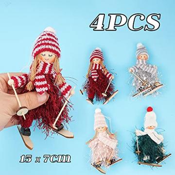 ABSDON 4PCS Weihnachtswichtel Figuren Weihnachtswichtel Weihnachten Deko Figur Wichtelfiguren Wichtel-Anhänger für den Weihnachtsbaum Weihnachten Weihnachtskranz Geschenken Dekoration - 2