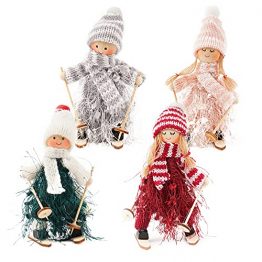 ABSDON 4PCS Weihnachtswichtel Figuren Weihnachtswichtel Weihnachten Deko Figur Wichtelfiguren Wichtel-Anhänger für den Weihnachtsbaum Weihnachten Weihnachtskranz Geschenken Dekoration - 1