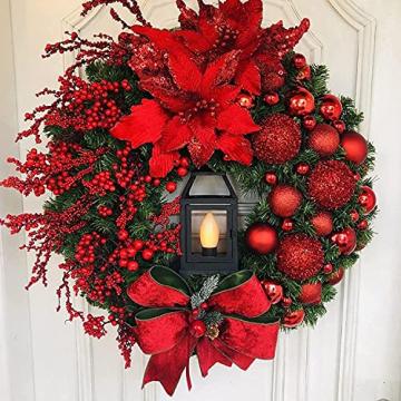 Adventkranz Weihnachtskranz - Weihnachtsmann Türkranz Adventskranz Schneemann Weihnachten Kranz Dekokranz Hängende Wand Verzierung Weihnachtskugelnkranz Fenster Dekoration Weihnachts Zubehör (#1) - 1