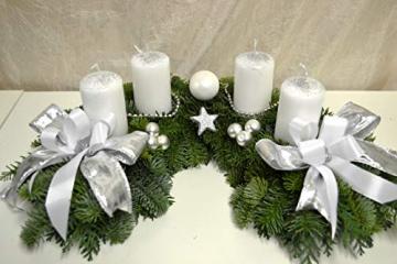 Adventskranz frisch Halbmond weiß Silber 40 cm Weihnachten Advent Gesteck - 1