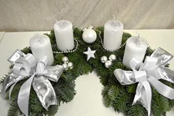 Adventskranz frisch Halbmond weiß Silber 40 cm Weihnachten Advent Gesteck - 2