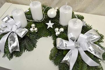 Adventskranz frisch Halbmond weiß Silber 40 cm Weihnachten Advent Gesteck - 3