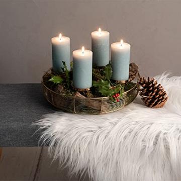 Adventskranz Gold Ø36cm Advent Kerzenständer Weihnachten Goldene Kerzenständer Stumpenkerzen Adventskranz Kerzenhalter ohne Dorn Weihnachtsdeko innen Tisch Weihnachtskranz Deko Adventsgesteck Edel - 3