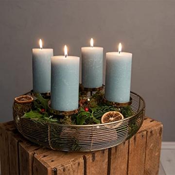 Adventskranz Gold Ø36cm Advent Kerzenständer Weihnachten Goldene Kerzenständer Stumpenkerzen Adventskranz Kerzenhalter ohne Dorn Weihnachtsdeko innen Tisch Weihnachtskranz Deko Adventsgesteck Edel - 5
