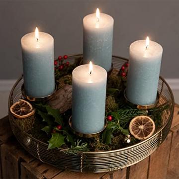 Adventskranz Gold Ø36cm Advent Kerzenständer Weihnachten Goldene Kerzenständer Stumpenkerzen Adventskranz Kerzenhalter ohne Dorn Weihnachtsdeko innen Tisch Weihnachtskranz Deko Adventsgesteck Edel - 6