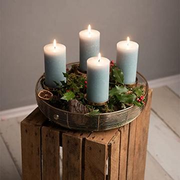 Adventskranz Gold Ø36cm Advent Kerzenständer Weihnachten Goldene Kerzenständer Stumpenkerzen Adventskranz Kerzenhalter ohne Dorn Weihnachtsdeko innen Tisch Weihnachtskranz Deko Adventsgesteck Edel - 7