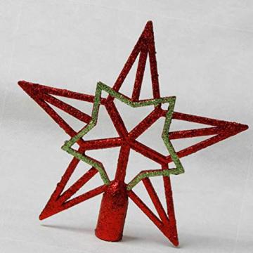 Amosfun 2pcs Baumspitze Stern Weihnachtsbaumspitzen Stern Gold Glitzer Christbaumspitze Tannenbaumschmuck (Rot+Gold) ca. 19 cm - 2