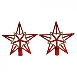 Amosfun 2pcs Baumspitze Stern Weihnachtsbaumspitzen Stern Gold Glitzer Christbaumspitze Tannenbaumschmuck (Rot+Gold) ca. 19 cm - 1