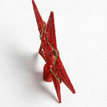 Amosfun 2pcs Baumspitze Stern Weihnachtsbaumspitzen Stern Gold Glitzer Christbaumspitze Tannenbaumschmuck (Rot+Gold) ca. 19 cm - 5