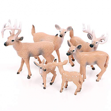 Amosfun 6 Stücke Mini Rentier Figur Elch Hirsch Figur Weihnachten Deko Figuren Miniaturfiguren Tierfigur Dekofigur Weihnachtsfigur Tischdeko Weihnachtsdeko Weihnachtsschmuck(zufällig) - 4