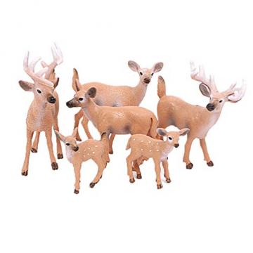 Amosfun 6 Stücke Mini Rentier Figur Elch Hirsch Figur Weihnachten Deko Figuren Miniaturfiguren Tierfigur Dekofigur Weihnachtsfigur Tischdeko Weihnachtsdeko Weihnachtsschmuck(zufällig) - 1