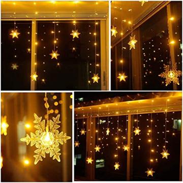 Antrect LED Lichterkette, LED Lichtervorhang Schneeflocke 96er LED Weihnachtsbeleuchtung Fenster mit 8 Modi, IP45 Wasserdicht für Weihnachten Party Fester Deko - 4