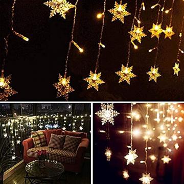 Antrect LED Lichterkette, LED Lichtervorhang Schneeflocke 96er LED Weihnachtsbeleuchtung Fenster mit 8 Modi, IP45 Wasserdicht für Weihnachten Party Fester Deko - 6