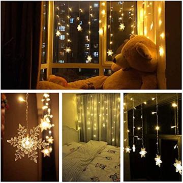 Antrect LED Lichterkette, LED Lichtervorhang Schneeflocke 96er LED Weihnachtsbeleuchtung Fenster mit 8 Modi, IP45 Wasserdicht für Weihnachten Party Fester Deko - 7