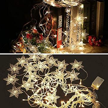 Antrect LED Lichterkette, LED Lichtervorhang Schneeflocke 96er LED Weihnachtsbeleuchtung Fenster mit 8 Modi, IP45 Wasserdicht für Weihnachten Party Fester Deko - 8
