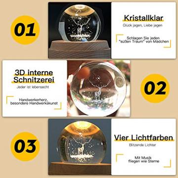Aoweika Spieluhr, 3D Kristallkugel Spieluhr Mit Warmem Licht Projektionsfunktion, Rotierende K9 Kristallkugel Geschenke für Frauen, Geburtstagsgeschenk, Weihnachtengeschenk (Elch) - 4