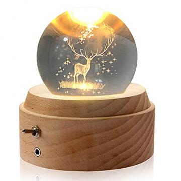 Aoweika Spieluhr, 3D Kristallkugel Spieluhr Mit Warmem Licht Projektionsfunktion, Rotierende K9 Kristallkugel Geschenke für Frauen, Geburtstagsgeschenk, Weihnachtengeschenk (Elch) - 1